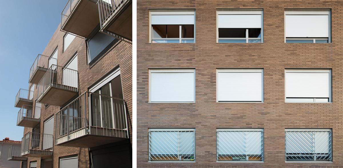 Detall balconeres, 23 habitatges a premià de mar