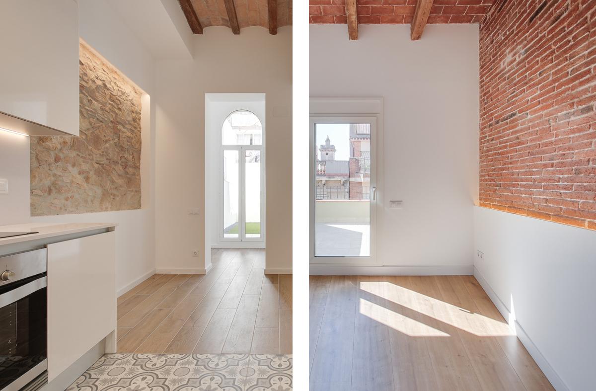 reforma interior, paret vista, 5 habitatges al carrer Guilleries Barcelona