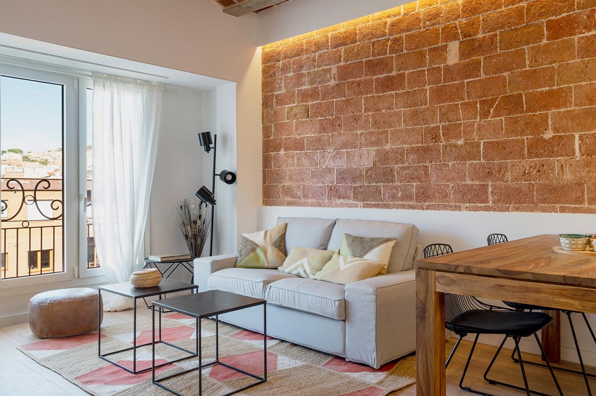 vista menjador, gran rehabilitació, habitatges Ronda General Mitre, Barcelona