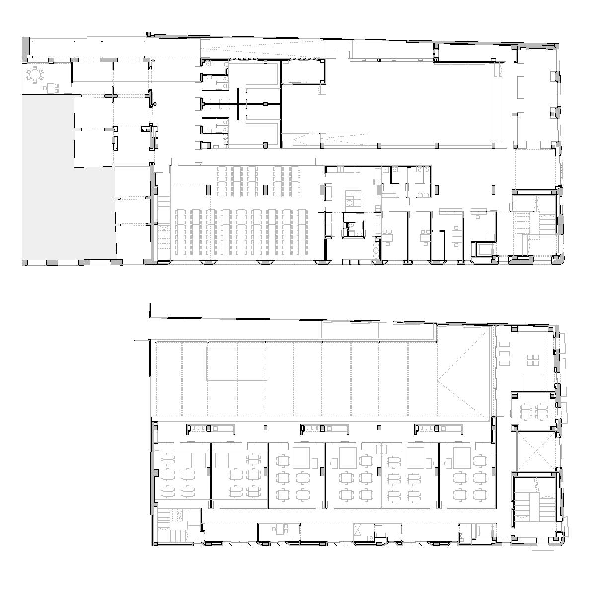 Planta baixa i planta primera escola Drassanes, Cuitat Vella, Barcelona