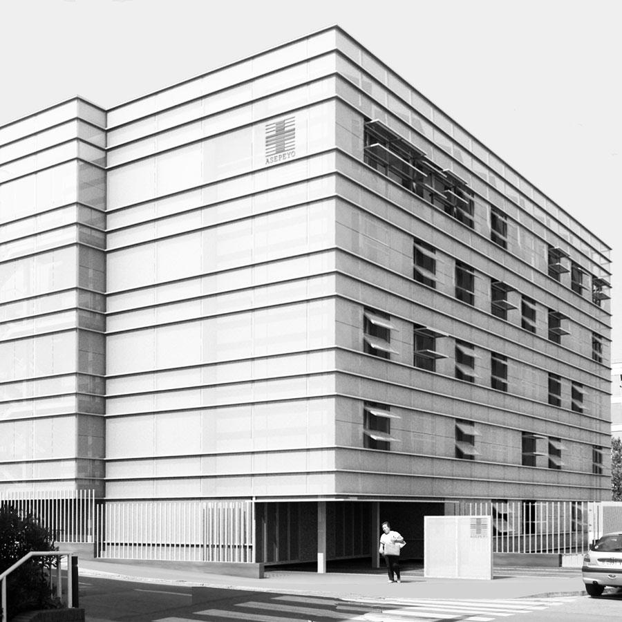 Nova façana, carrer Anguí, Fundació Asepeyo, Barcelona