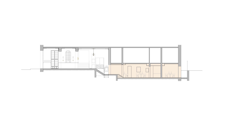 secció longitudinal, documentació gràfica, Aribau lofts, reforma oficinas, Barcelona
