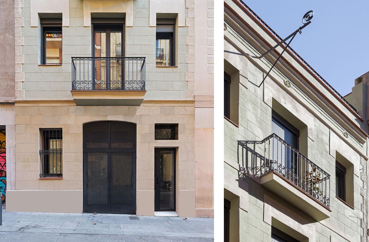 vista façana principal de l'edifici al carrer Guilleries Barcelona